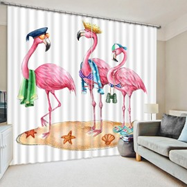 Three Cute Cartoon Flamingos Printing Funny Pattern Window Decorative 3D Curtain