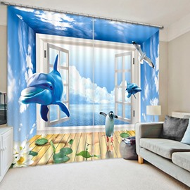 Penguin and Dolphins Rushing out of the Window Print 3D Blackout Curtain