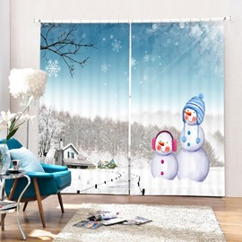 Cute Snowmen in Winter Printing Christmas Theme 3D Curtain