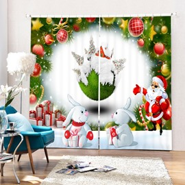 Santa with Sunglasses and Cute Rabbits Printing Christmas Theme 3D Curtain