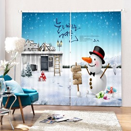 Cartoon Cute Snowman and Magic Castle Printing Christmas Theme 3D Curtain