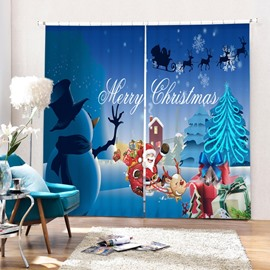 Cute Santa and Snowman Merry Christmas Printing 3D Curtain