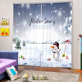 Lovely Winter Story Printing Christmas Theme 3D Curtain