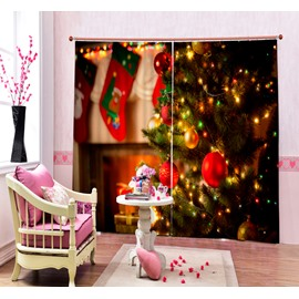 Dreamy Christmas Tree with Light On Printing Christmas Theme 3D Curtain