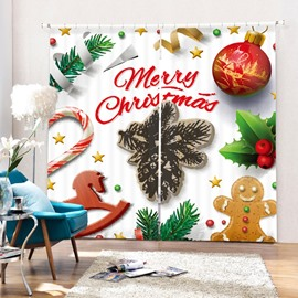 Cute Merry Christmas Decoration Printing 3D Curtain