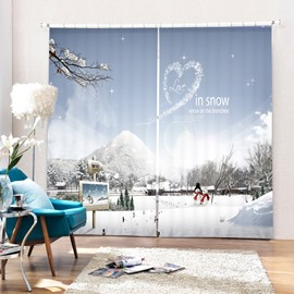 Couple Snowmen Love in Snow Printing Christmas Theme 3D Curtain