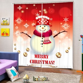 Cartoon Snowman with Red Scarf and Hat Merry Christmas Printing 3D Curtain