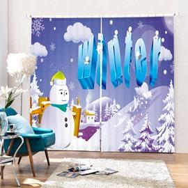 Cartoon Christmas Winter Printing Merry Christmas Theme 3D Curtain