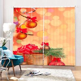 Golden Jingle Bell Printing Christmas Theme 3D Curtain