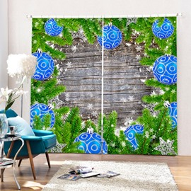 Blue Christmas Ball and Christmas Tree Printing 3D Curtain