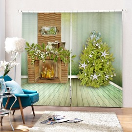 Fireplace and Christmas Tree Printing Christmas Theme 3D Curtain