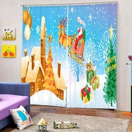 Santa Riding Reindeer Flying Castle Printing Christmas Theme 3D Curtain