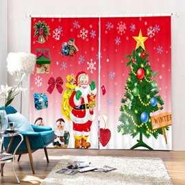 Cartoon Santa Standing near Christmas Tree Wave Printing 3D Curtain