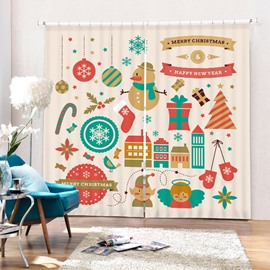 Super Cute Clip Art Christmas Theme Printing 3D Curtain