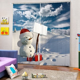 Cute Snowman with Gift Printing Christmas Theme 3D Curtain