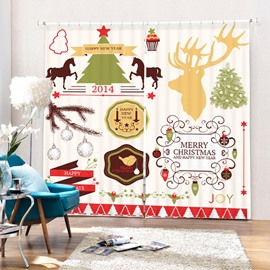 Clip Art Christmas Theme Decor Printing 3D Curtain