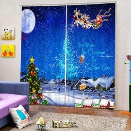 Santa Riding Reindeer in the Sky Printing Christmas Theme 3D Curtain