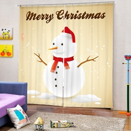 Cute Snowman with Red Scarf and Christmas Hat Printing Christmas Theme 3D Curtain