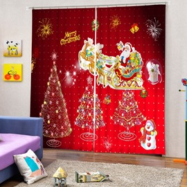Cute Santa Claus Riding Reindeer and Christmas Trees Printed Window 3D Curtain