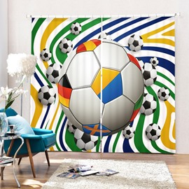 Colorful Word wild Footballs Printing Polyester 3D Curtain