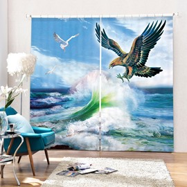 3D Flying Eagle and Rough Sea Printed Creative and Vivid Pattern Decorative Curtain