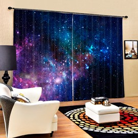 3D Gorgeous Dark Blue Galaxy Printed Polyester Blackout Custom 2 Panels Curtain