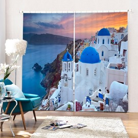 Beautiful Greece Aegean Sea Town Printing 3D Curtain