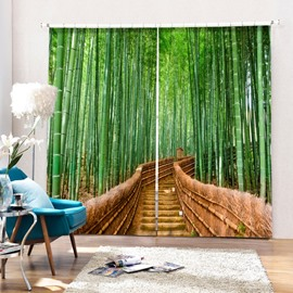 Green Bamboo on both Sides of the Path Printed 2 Panels Custom 3D Curtain