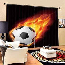 Fire Football Dropping Down Printing 3D Curtain