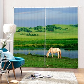 Horse Eating Grass by the Lake Printing 3D Curtain