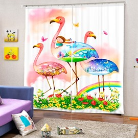 3D Cartoon Girl and Lovely Flamingos Printed Cartoon Style Baby Bedroom Curtain