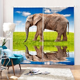 3D Fat Elephant in the River Side Printed Living Room and Bedroom Window Curtain