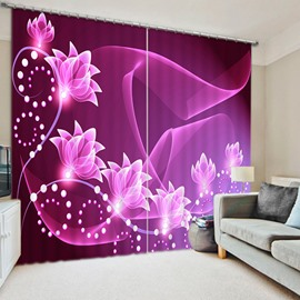 Sparkling Purple Flowers Printed 3D Polyester Custom Living Room Curtain