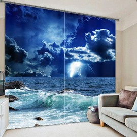 Dark Night and Blue Sky with Storm Printing Thick Polyester Decorative 3D Curtain