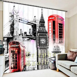 Watercolor Art London in Memory Printing 3D Curtain