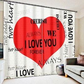 Romantic Love Words in Red Heart Printing 3D Curtain