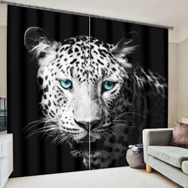 3D Ferocious Leopard with Bright Green Eyes Cheetah Printed Thick Polyester 2 Panels 3D Curtain