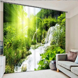3D Thick Forest and Waterfalls Printed 2 Panels Living Room Blackout Custom Curtain