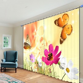 Vivid Butterfly and Pink Flowers Printed 3D Curtain