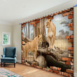 3D Couple Lions Standing on the Wood Printed Animal Style Polyester Custom Curtain