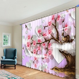 Charming Tree full of Pink Blooming Flowers Printed 3D Curtain