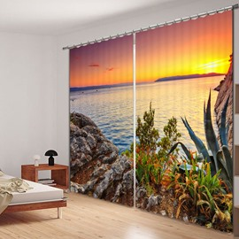 Beautiful Sunrise at the Seaside Printed 3D Curtain