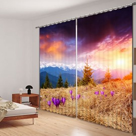 Beautiful Sunset Scenery in the Valley Printed 3D Curtain
