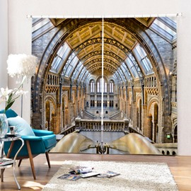Spectacular Palace View 3D Printed Polyester Curtain