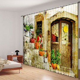 Quaint Door and Colored Flowers Printed 3D Curtain