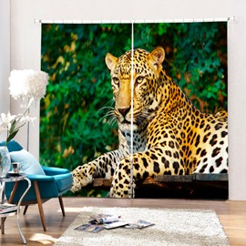 3D Vivid Strong Leopard Lying Down Printed Animal Style Blackout Polyester Curtain