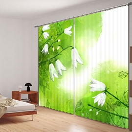 Beautiful White Flower Printed 3D Polyester Curtain