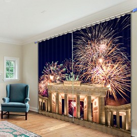 Shining Fireworks at Night Printed 3D Curtain