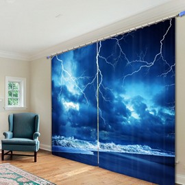 Lightning in the Seaside Printed 3D Curtain