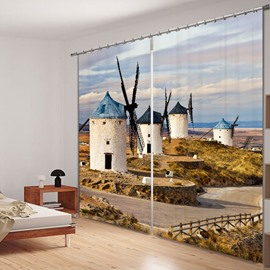 Inviting Windmill in the Wilderness Printed 3D Curtain